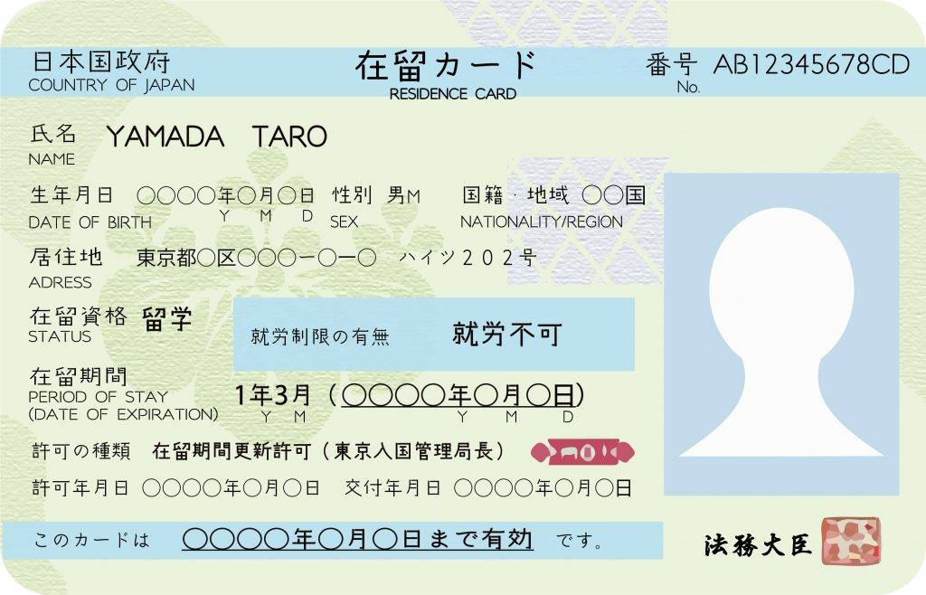 A residence card is issued to foreign nationals residing legally in Japan
